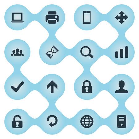 16 간단한 연습 아이콘의 집합입니다. 확인, 노트북, 잠금 및 기타 등의 요소를 찾을 수 있습니다. 일러스트