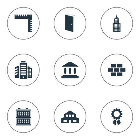 Set Of 9 Simple Construction Icons. Can Be Found Such Elements As Length, Block, Gate And Other.