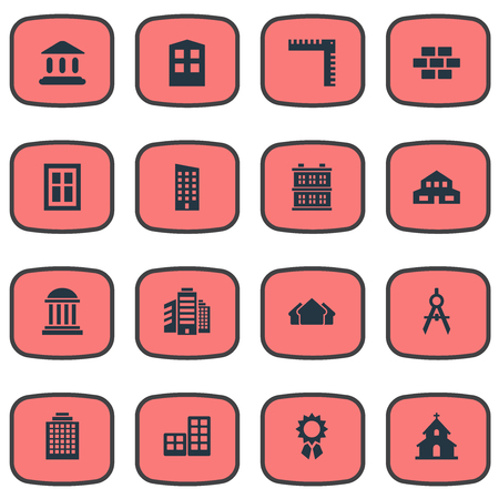 Set Of 16 Simple Architecture Icons. Can Be Found Such Elements As Length, Superstructure, Stone And Other.