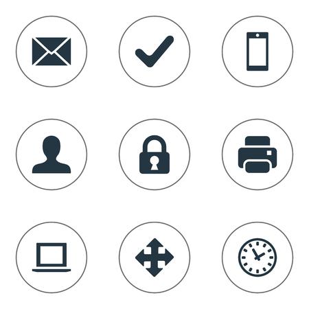 9 간단한 응용 프로그램 아이콘의 집합입니다. 시계, 잠금, 인쇄물 및 기타 등의 요소를 찾을 수 있습니다.