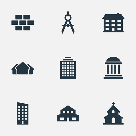residency: Set Of 9 Simple Construction Icons. Can Be Found Such Elements As Shelter, Offices, Residential And Other. Illustration
