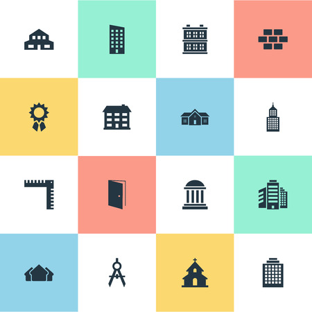 residency: Set Of 16 Simple Architecture Icons. Can Be Found Such Elements As Academy, Reward, Residential And Other.