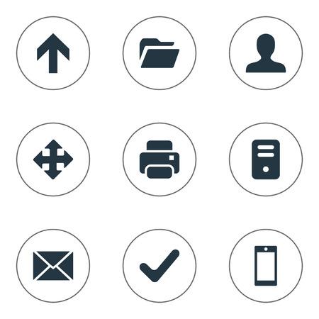 9 간단한 응용 프로그램 아이콘의 집합입니다. 화살표, 위쪽 방향, 스마트 폰 및 기타 등의 요소를 찾을 수 있습니다.