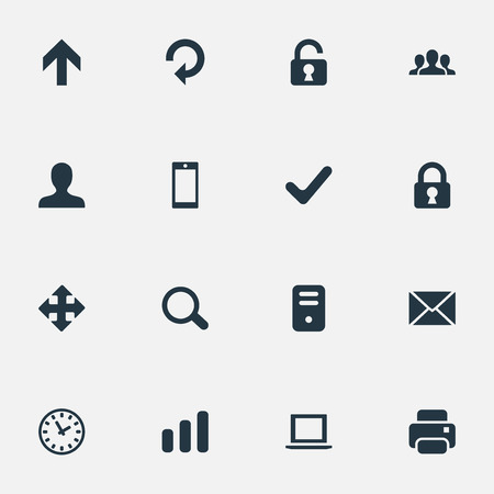 hard drive: Set Of 16 Simple Apps Icons. Can Be Found Such Elements As Magnifier, Computer Case, Upward Direction And Other.