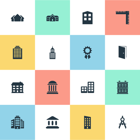 architectonics: Set Of 16 Simple Structure Icons. Can Be Found Such Elements As Flat, Booth, Offices And Other.