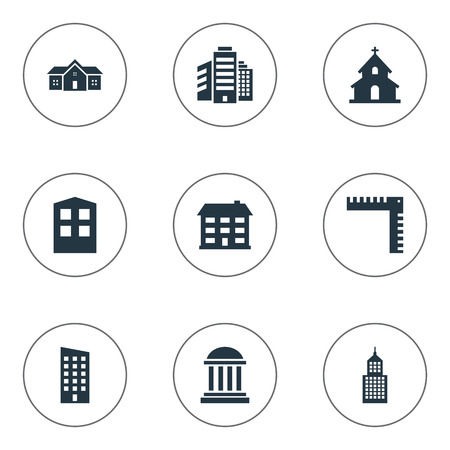 architectonics: Set Of 9 Simple Construction Icons. Can Be Found Such Elements As Superstructure, Floor, Residence And Other.