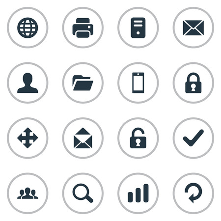 Set Of 16 Simple Apps Icons. Can Be Found Such Elements As Envelope, Web, Magnifier And Other. Illustration