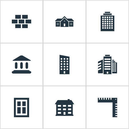 Set Of 9 Simple Construction Icons. Can Be Found Such Elements As Residence, Superstructure, Length And Other.