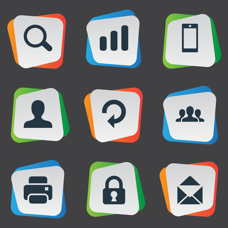 refresh rate: Set Of 9 Simple Application Icons. Can Be Found Such Elements As Statistics, Community, Lock And Other. Illustration