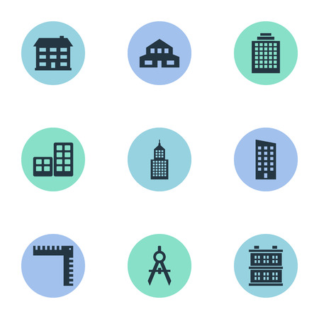 architectonics: Set Of 9 Simple Construction Icons. Can Be Found Such Elements As Block, Length, Flat And Other.