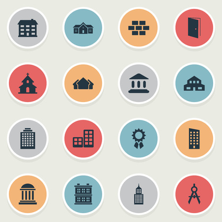 architectonics: Set Of 16 Simple Architecture Icons. Can Be Found Such Elements As Stone, Engineer Tool, Academy And Other. Illustration