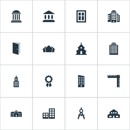 architectonics: Set Of 16 Simple Construction Icons. Can Be Found Such Elements As Superstructure, Booth, Offices And Other.
