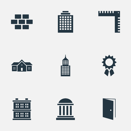 architectonics: Set Of 9 Simple Architecture Icons. Can Be Found Such Elements As Block, Academy, Stone And Other.