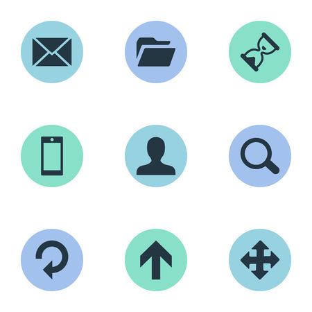 9 간단한 연습 아이콘의 집합입니다. 스마트 폰, 서류, 메시지 및 기타 등의 요소를 찾을 수 있습니다.