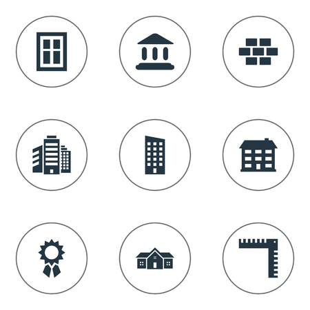 domicile: Set Of 9 Simple Structure Icons. Can Be Found Such Elements As Reward, Booth, Residence And Other. Illustration