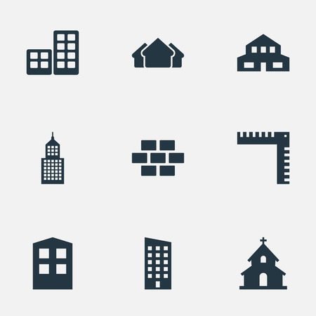residency: Set Of 9 Simple Structure Icons. Can Be Found Such Elements As Shelter, Floor, Construction And Other.