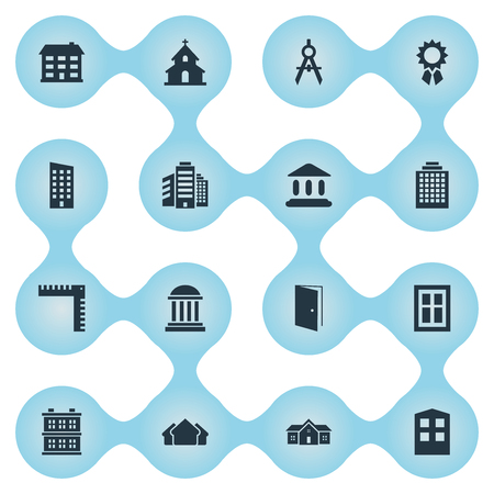 Set Of 16 Simple Architecture Icons. Can Be Found Such Elements As Booth, Reward, Superstructure And Other.