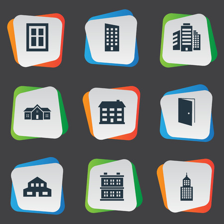 Set Of 9 Simple Structure Icons. Can Be Found Such Elements As Floor, School, Superstructure And Other. Illustration