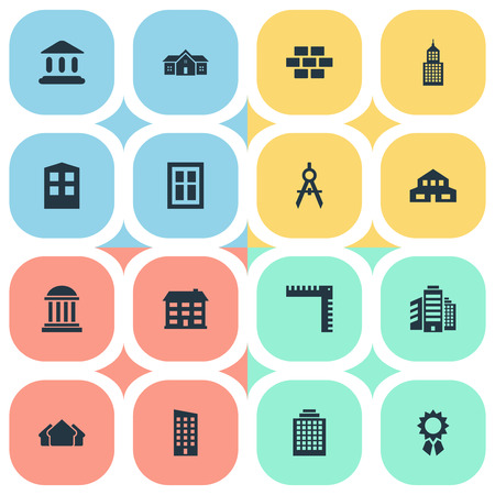 Set Of 16 Simple Structure Icons. Can Be Found Such Elements As Booth, Floor, Superstructure And Other.