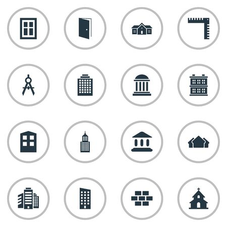 architectonics: Set Of 16 Simple Architecture Icons. Can Be Found Such Elements As Gate, Floor, Superstructure And Other.