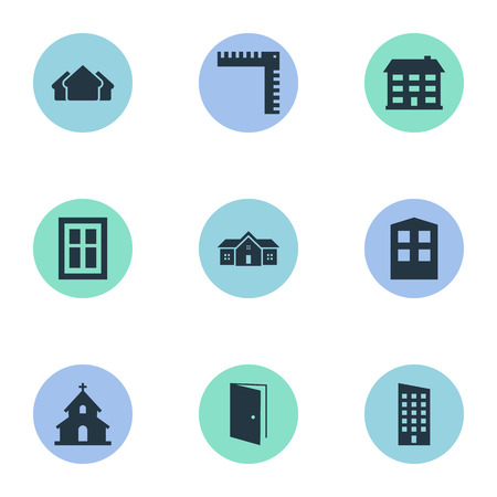 casement: Set Of 9 Simple Structure Icons. Can Be Found Such Elements As Length, Residence, School And Other.