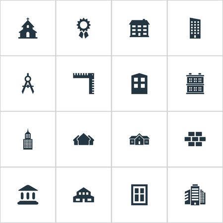 architectonics: Set Of 16 Simple Structure Icons. Can Be Found Such Elements As Length, Residence, Popish And Other.