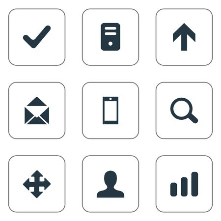 Set Of 9 Simple Apps Icons. Can Be Found Such Elements As Smartphone, Arrows, Computer Case And Other. 일러스트