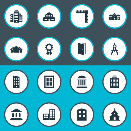 superstructure: Set Of 16 Simple Construction Icons. Can Be Found Such Elements As Offices, Shelter, Superstructure And Other.