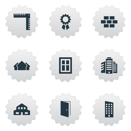 architectonics: Set Of 9 Simple Construction Icons. Can Be Found Such Elements As Superstructure, Gate, Shelter And Other.
