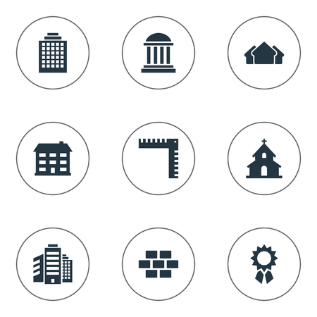 church service: Set Of 9 Simple Structure Icons. Can Be Found Such Elements As Offices, Stone, Shelter And Other.