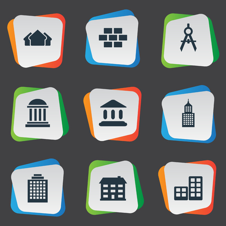 architectonics: Set Of 9 Simple Architecture Icons. Can Be Found Such Elements As School, Structure, Booth And Other.