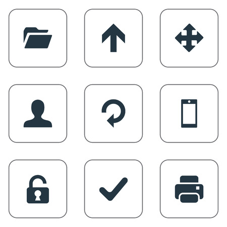 Set Of 9 Simple Practice Icons. Can Be Found Such Elements As Printout, Dossier, Open Padlock And Other. Illustration