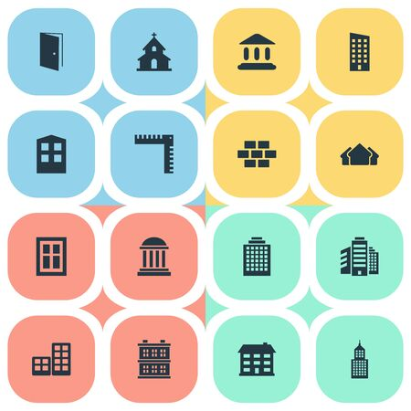 architectonics: Set Of 16 Simple Architecture Icons. Can Be Found Such Elements As Stone, Offices, Flat And Other.