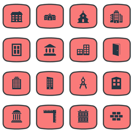 architectonics: Set Of 16 Simple Construction Icons. Can Be Found Such Elements As Construction, Flat, Booth And Other. Illustration