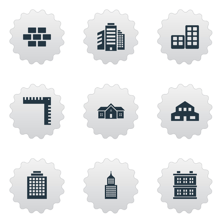 domicile: Set Of 9 Simple Architecture Icons. Can Be Found Such Elements As Stone, Superstructure, Block And Other.