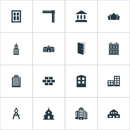 architectonics: Set Of 16 Simple Architecture Icons. Can Be Found Such Elements As Gate, Residential, Flat And Other.