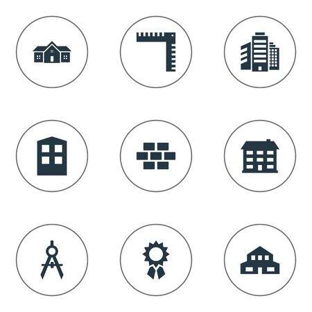 Set Of 9 Simple Architecture Icons. Can Be Found Such Elements As Residential, Superstructure, Construction And Other.
