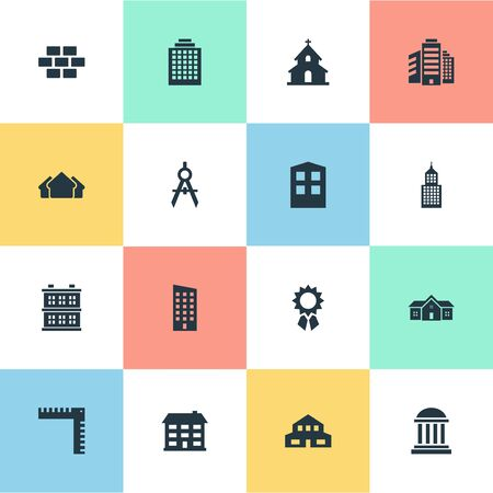 architectonics: Set Of 16 Simple Construction Icons. Can Be Found Such Elements As Academy, Structure, Floor And Other.