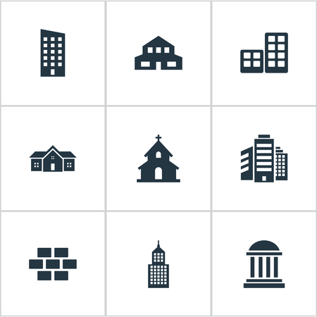 Set Of 9 Simple Construction Icons. Can Be Found Such Elements As Stone, Floor, Superstructure And Other.