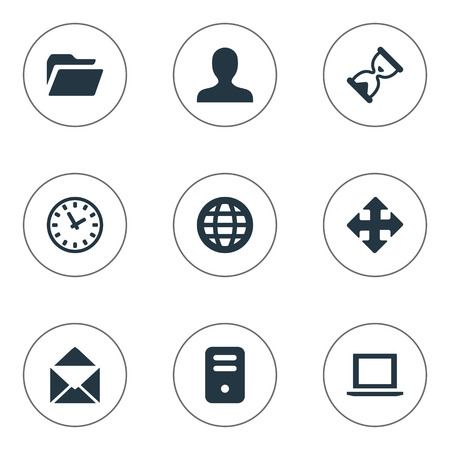 9 간단한 응용 프로그램 아이콘의 집합입니다. 웹, 화살표, 시계 및 기타 등의 요소를 찾을 수 있습니다. 일러스트