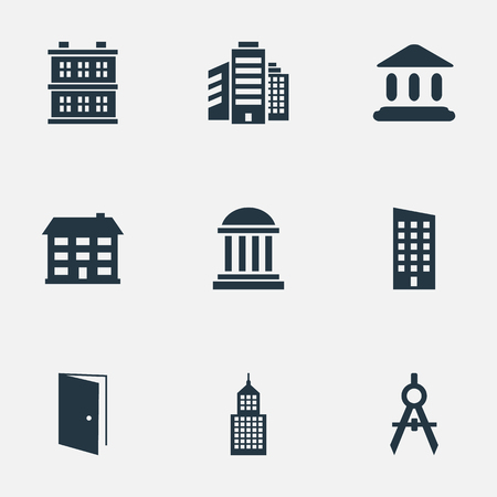 Set Of 9 Simple Architecture Icons. Can Be Found Such Elements As Superstructure, School, Floor And Other.