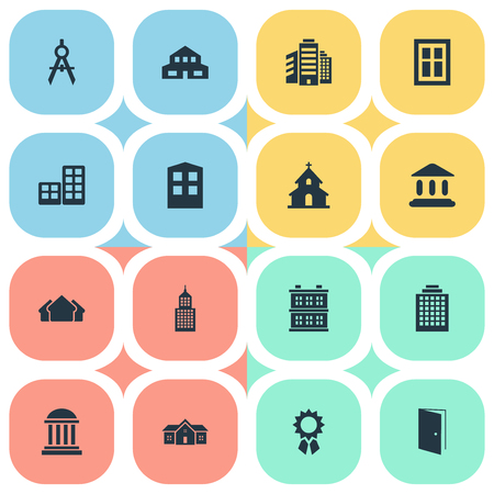 Set van 16 eenvoudige structuurpictogrammen. Elementen zoals residentie, ingenieurstool, schuilplaats en andere zijn te vinden.