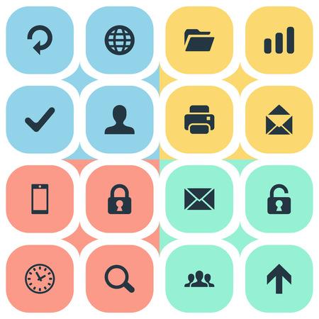 16 간단한 애플 리 케이 션 아이콘의 집합입니다. 스마트 폰, 상향 방향, 웹 및 기타와 같은 요소를 찾을 수 있습니다.