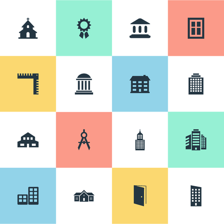 architectonics: Set Of 16 Simple Architecture Icons. Can Be Found Such Elements As Reward, Booth, Flat And Other. Illustration