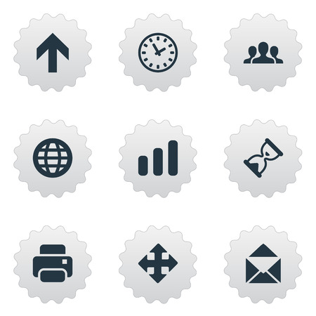 clockwise: Set Of 9 Simple Apps Icons. Can Be Found Such Elements As Watch, Web, Printout And Other. Illustration