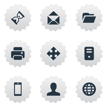 9 간단한 응용 프로그램 아이콘의 집합입니다. 모래 타이머, 스마트 폰, 웹 같은 요소를 찾을 수 있습니다.