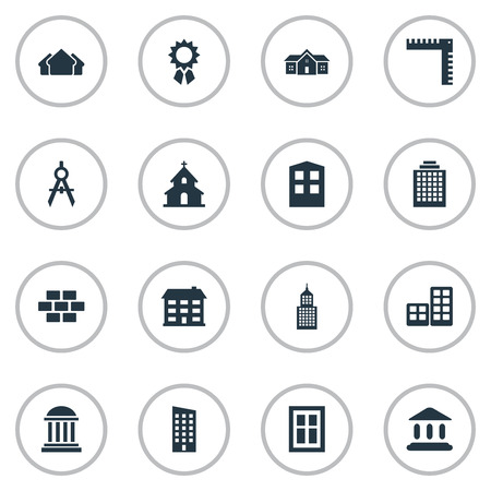 domicile: Set Of 16 Simple Construction Icons. Can Be Found Such Elements As Construction, Stone, Reward And Other. Illustration