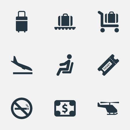 Set Of 9 Simple Travel Icons. Can Be Found Such Elements As Alighting Plane, Baggage Cart, Cigarette Forbidden And Other.