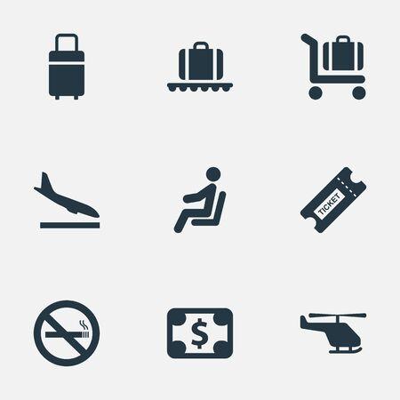 9 간단한 여행 아이콘의 집합입니다. 비행기, 수화물 장바구니, 금지 된 담배 및 기타와 같은 요소를 찾을 수 있습니다. 일러스트