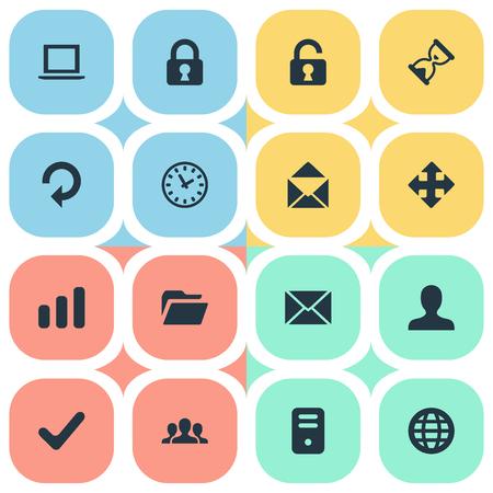 16 간단한 응용 프로그램 아이콘의 집합입니다. 서류, 오픈 자물쇠, 사용자 및 기타 등의 요소를 찾을 수 있습니다. 일러스트